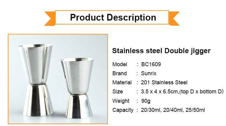 Double Jigger Bartender Barware Tool, Stainless Steel,Home Bar Supply Tools Measuring Cocktail Jigger