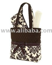 Cotton Quilted Monogrammable 3 piece diaper bag
