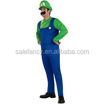 Super Mario Luigi Brothers Nintendo Video Game Halloween Men Fancy Dress Costume QAMC-2254