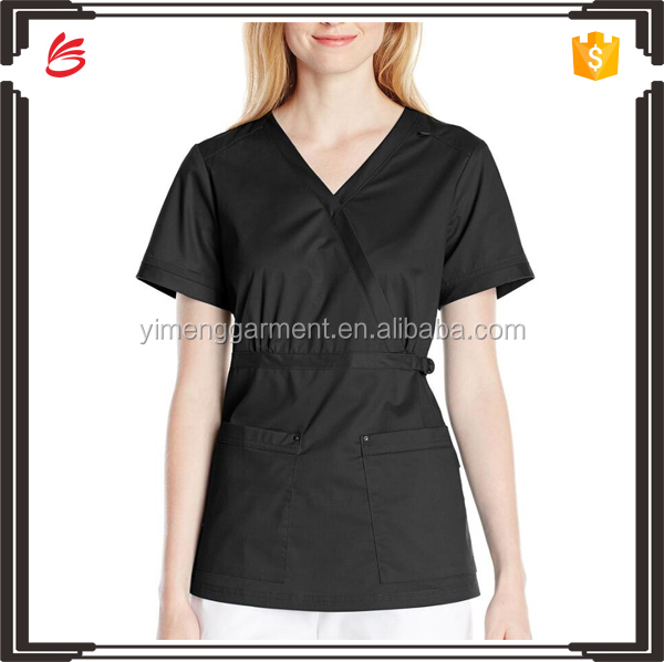 women's scrub top with adjustable buckle at waist nurse scrub suits
