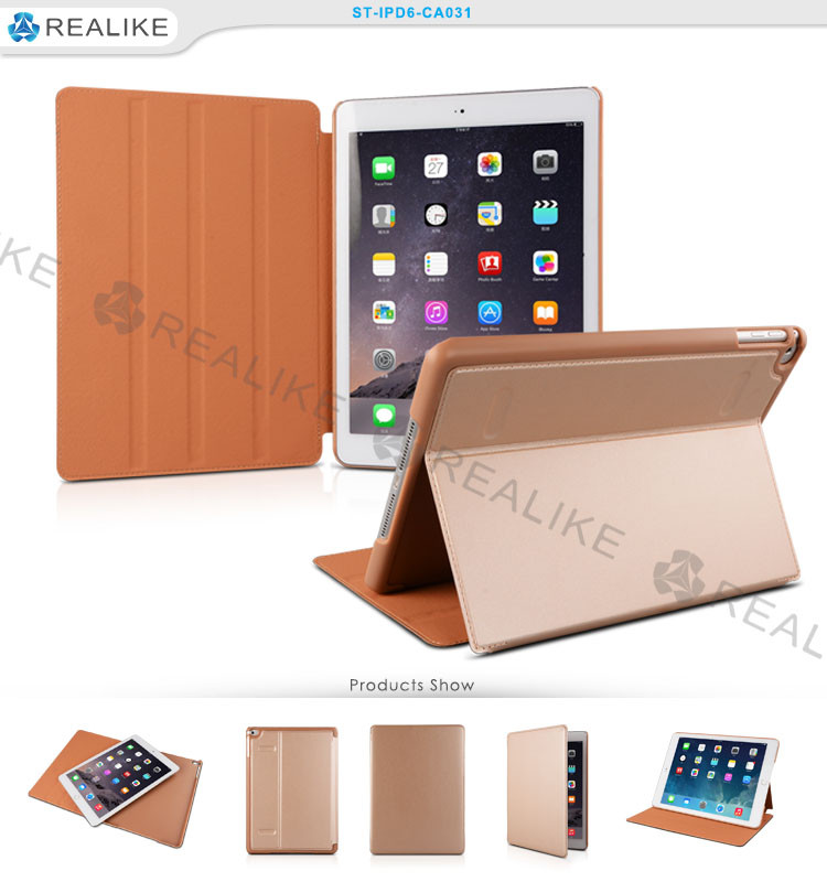Luxury gold tablet accessories for ipad, smart case magnetic cover for ipad 6