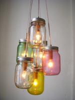 Modern colorful mason jar pendant light fixture manufacture
