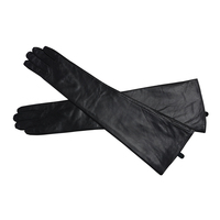Women's Long Genuine Sheepskin Leather Gloves High Quality Sexy Evening Party Mittens