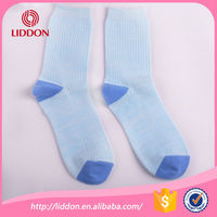 Fashion style solid color cotton women socks with rib wholesale