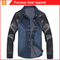 woman denim jean shirt with pu leather sleeve (PSA1504-48)