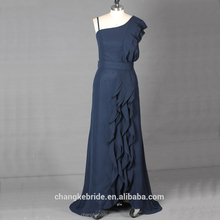 2018 Real Sample High Quality Chiffon Custom Long one shoulder navy Blue Bridesmaid Dress for wedding