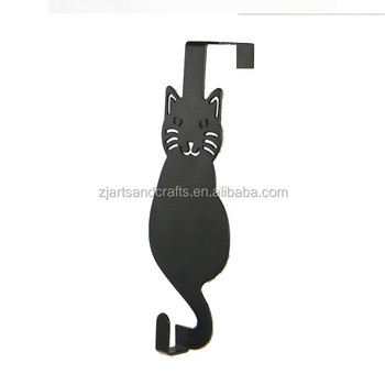 Metal Cat Shape Bedroom Bathroom Kitchen Decorative Over the Door Coat Hanger Hooks