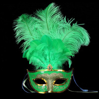 The new style high-grade three root ostrich feather party mask