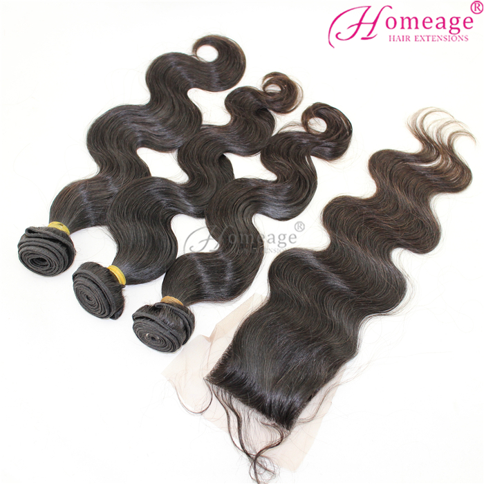 homeage cheap price New arrival raw unprocessed brazilian virgin hair bundles with lace closure