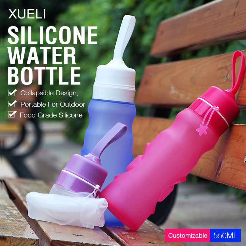 2017 New design Sport silicone foldable water bottle