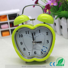 Apple shape twin bell plastic alarm clock