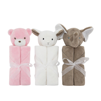 Newborn Infant Comfortable Warm Spring Autumn Winter 100% Polyester Soft Low Pile Fur Animal Toy Head Swaddle Baby Blanket