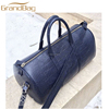 high quality crocodile embossed cow leather duffle bag genuine leather weekend bag travel bag