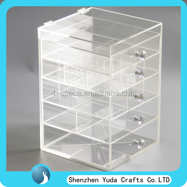 Transparent acrylic 6 tier makeup box perspex drawer case acrylic cosmetic organizer with diamond handle