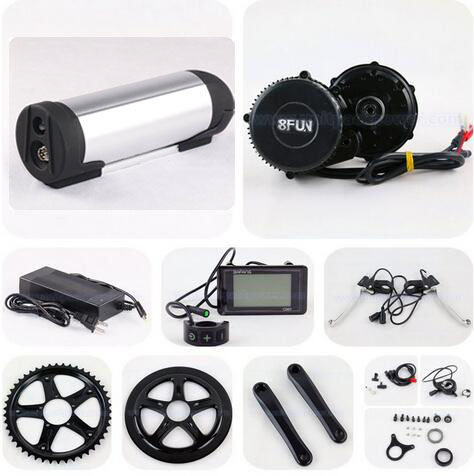BBS02 48V 750W 8FUN / Bafang Mid Crank Drive Motor Ebike Kits With 48V 11.6AH Bottle Lithium ion Battery