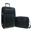 600D polyester black spinner soft trolley luggage bag set for traveling