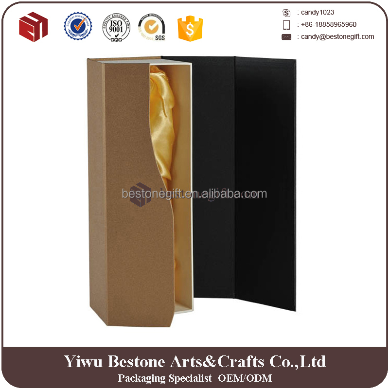 High quality stronge cardboard wine gift box With closure open