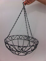 hot sale galvanized and powder coated metal iron wire hanging flower pot (factory)
