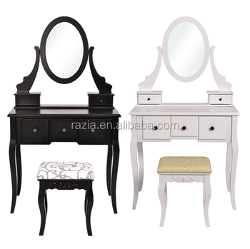 Modern White Dressing Vanity Table Make Up Writing Desk w/ Flip Mirror & Storage - White