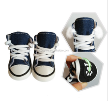 4 Pcs Cute Puppy Pet Sporty Shoes Lace up Blue Canvas Dog Boots Nonslip Dog Booties Sneaker for Dog