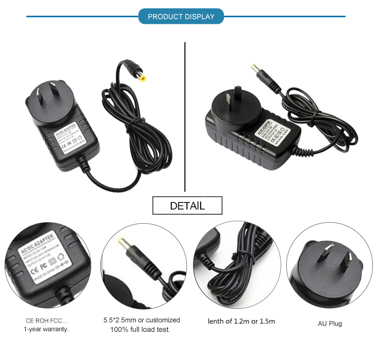 AC110-240V DC  LED Adapter 24V 1.87A 44.88W Power Supply with EU AU US UK Plug