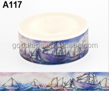 H Brand Series Wholesale New 1.5cm*10m Cartoon paper Sticky Adhesive Sticker Decorative Washy Tape and Boat and Sea Pattern