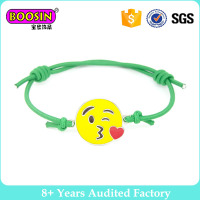 Custom emoji bracelet jewelry, adjustable braided cotton bracelet, twisted wax cord bracelet for children #31619