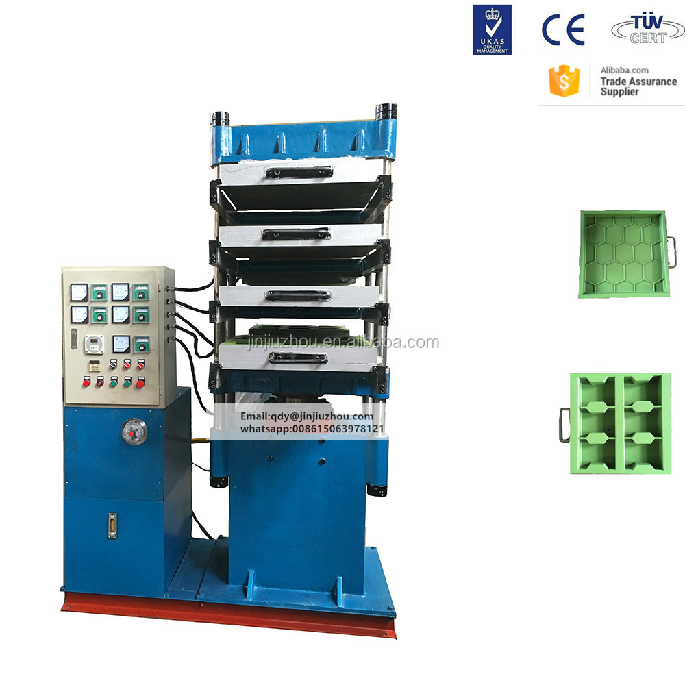 New Type Four Column Rubber Floor Curing Press with mold and mixer