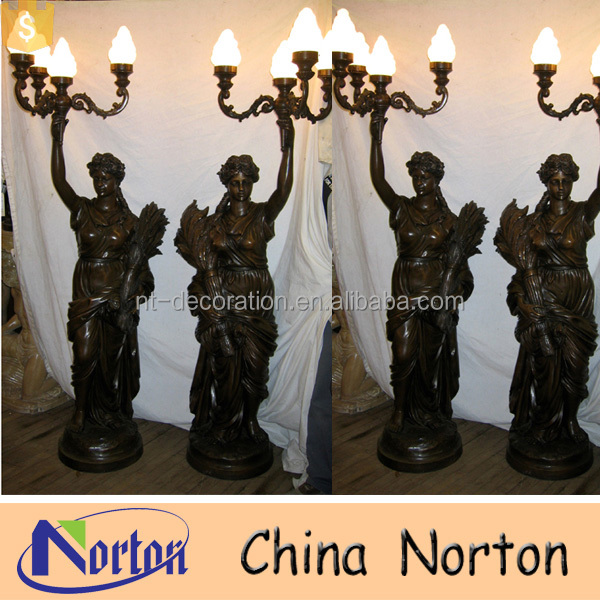 Garden decoration life size lady lamp statue NTBH-S906A
