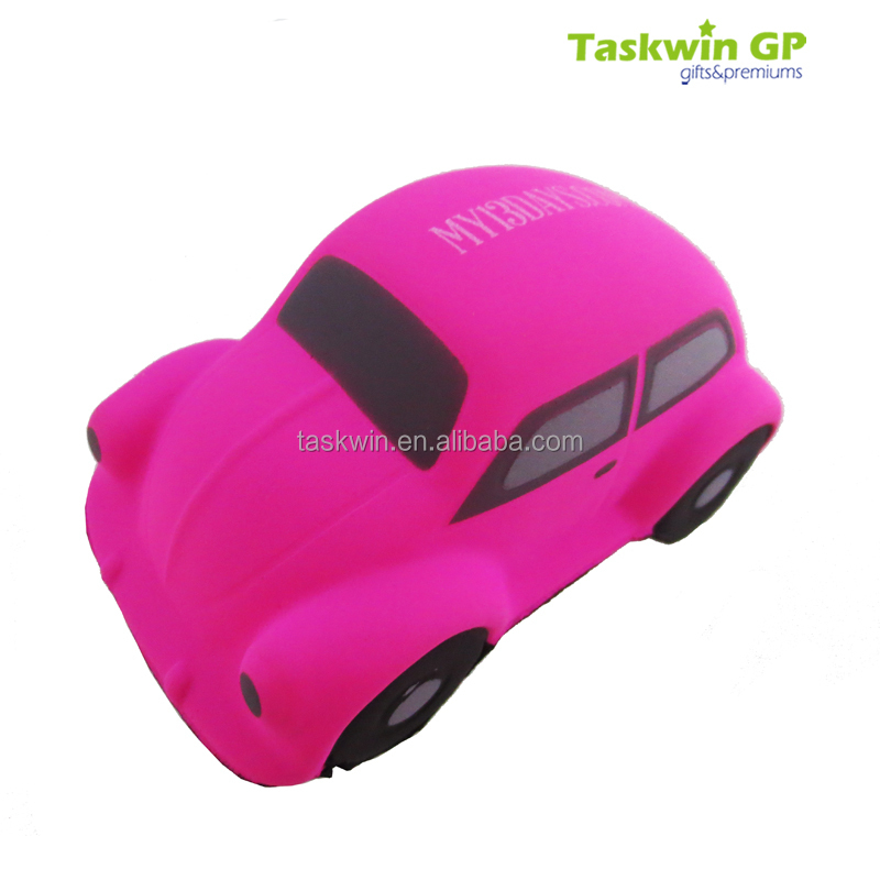 2017 fashional design car shape cheap stress ball toy , Spay pink color PU stress ball with custom logo