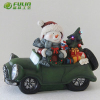 indoor snowman on car led lighted for christmas decoration