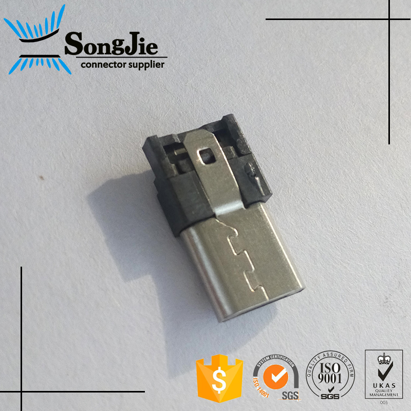 universal solder usb conector, black 5 pin solder usb connector high/german standard
