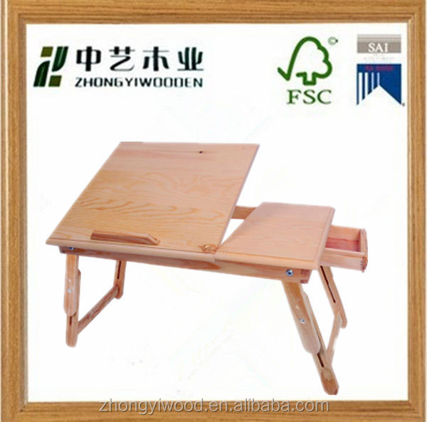 cheap folding pine natural wooden computer desk
