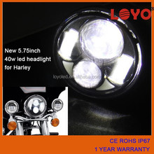 "H4 high and low beam bicycle 5.75"" round black/chrome led headlight motorcycle fittable for Harley"