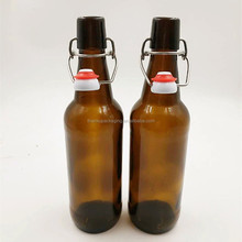Good quality amber beer juice glass bottle with swing top