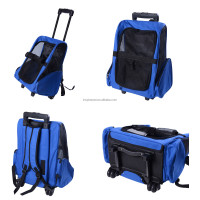 Pet Travel Luggage Dog Backpack Carrier Bag with Wheels