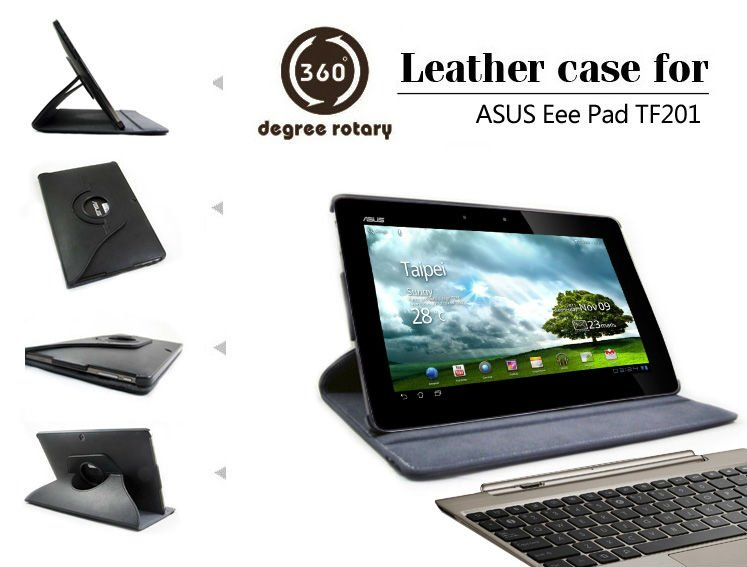 For Asus Eee Pad TF201 Soft leather case with rotary