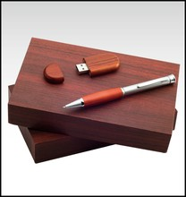 Creative design wooden pen and USB flash drive gift set