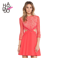 HAODUOYI Women Cross Stitching Lace Floral Slim Party Dresses for Wholesale