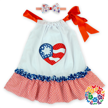 4th Of July Fashion Dress Heart Printed Girls Pillowcase Dresses With Headband New Model Cotton Girl Dress