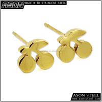 Gold champion symbol 18K gold plated stud earrings vivid jewellery earrings