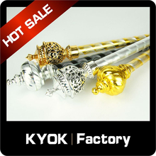 KYOK High-end Muslim decor plastic curtain pole finial/end, luxury golden/sliver aluminum curtain rod wholesale, curtain rings