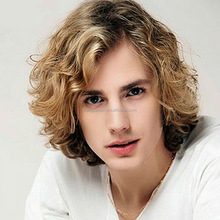 Popular foreign trade men wig mix blonde color partial waves points and long curly hair