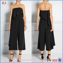 New style elegant woman wear summer wide-leg playsuit black off-shoulder draped silk rompers jumpsuits for women