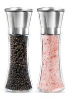 2017 Clear Glass Pepper Grinder Salt and Pepper Grinder Set - Adjustable Coarse - Salt Mill and Pepper Grinder