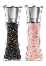 2017 Clear Glass Pepper Grinder Salt and Pepper Grinder Set - Adjustable Coarse - Salt Mill and Pepper Grinder