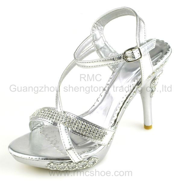 RMC elegant silver diamond fashion ladies high heel shoes