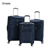 Blue color nylon fabric 3 pcs 20 24 28 inch soft handle travel style luggage trolley bag set with four wheels