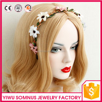 X-1 Stock colorful little daisy flower handmade headband artificial leaves braid women headpiece