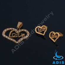 Gold plated jeweled heart jewelry set stainless steel Wedding necklace earring set